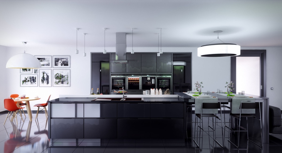 Black Kitchen White Panelling Dining Area To The Side - 36 stunning black kitchens that tempt you to go dark for your next remodel