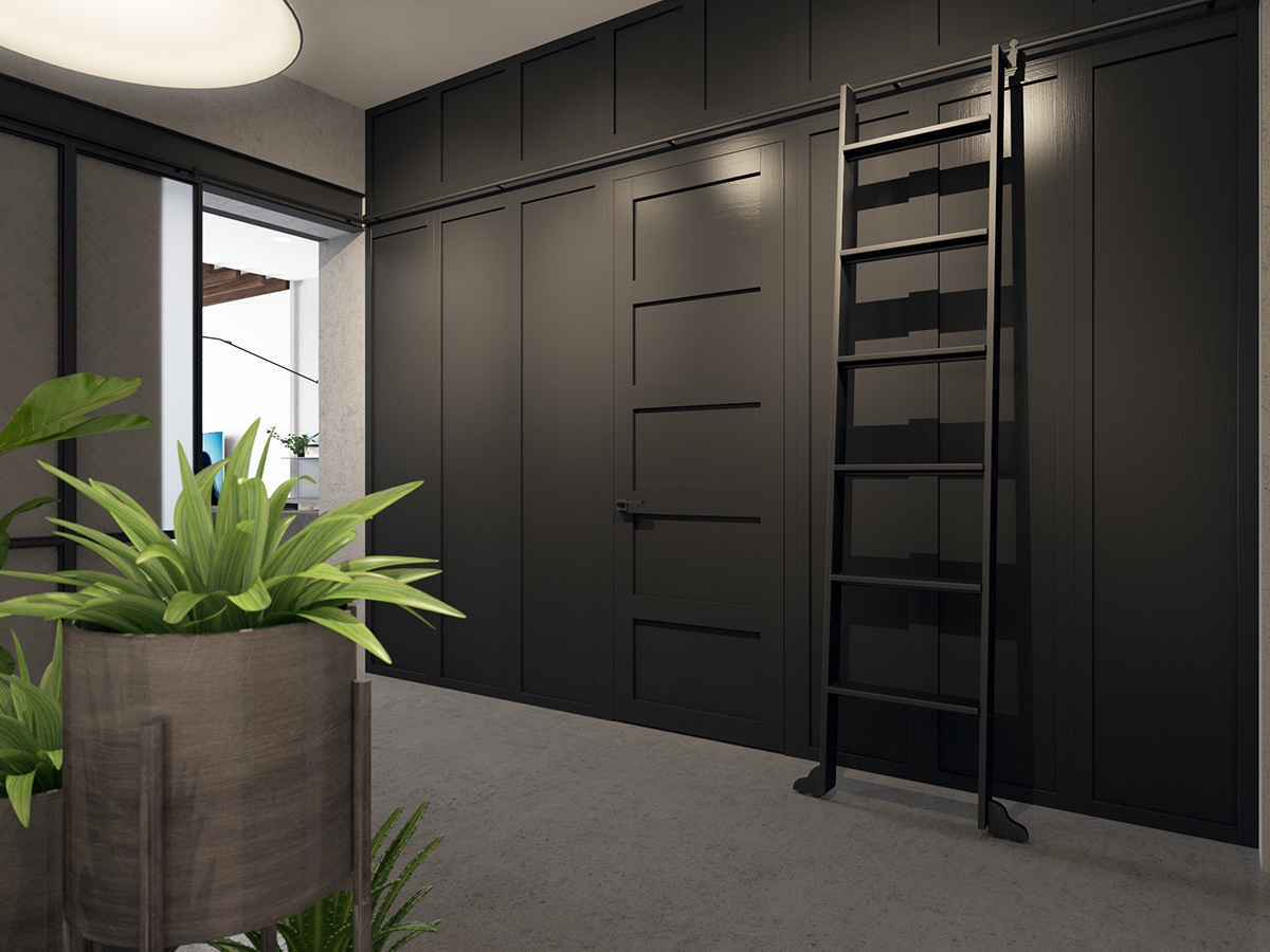 Black Modern Hallway Storage Design - Handsome small apartments with open concept layouts