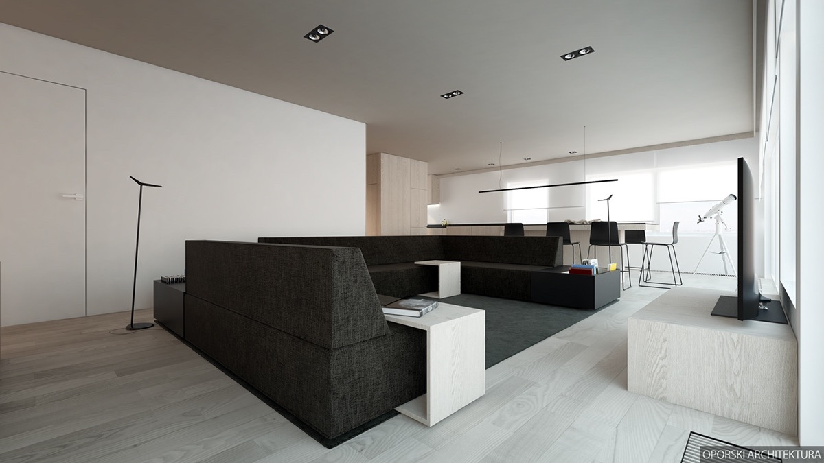 Black White And Wood Interior Theme - 2 super simple homes with light wood panels and matte black accents