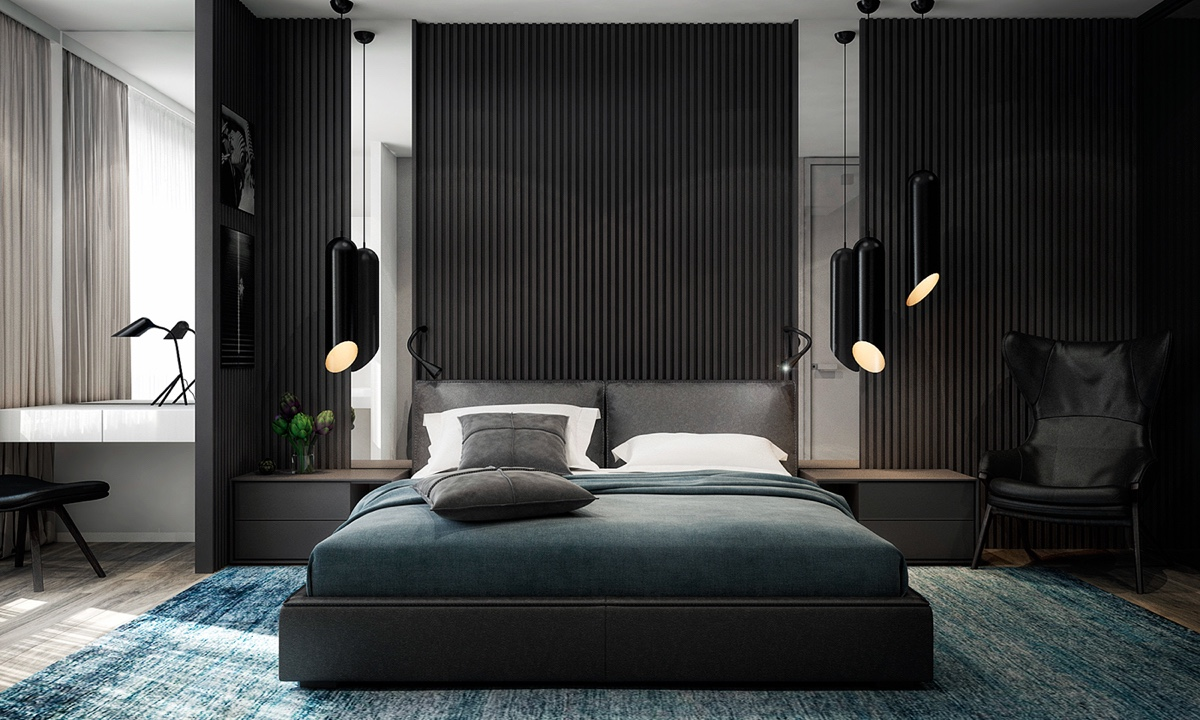 Blue Shade Bedroom Mottled Rug Mirrors Either Side - 4 monochrome minimalist spaces creating black and white magic