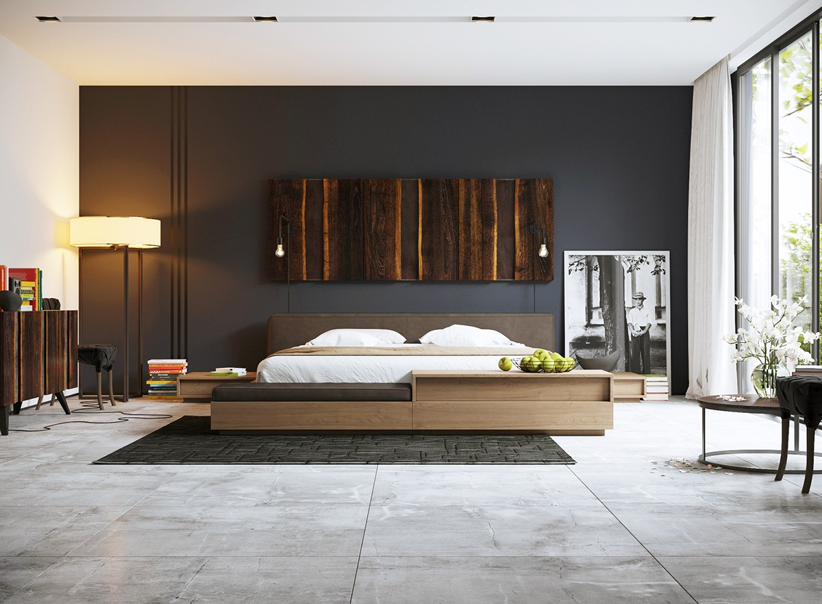master bedroom master bedroom Black & White Stunning Master Bedroom Designs bright wood black and white room decor