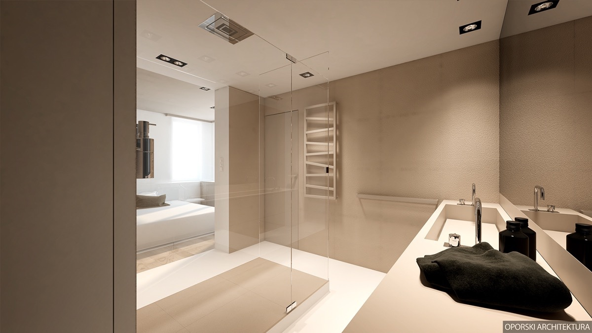 Central Shower In Open Plan Bathroom - 2 super simple homes with light wood panels and matte black accents