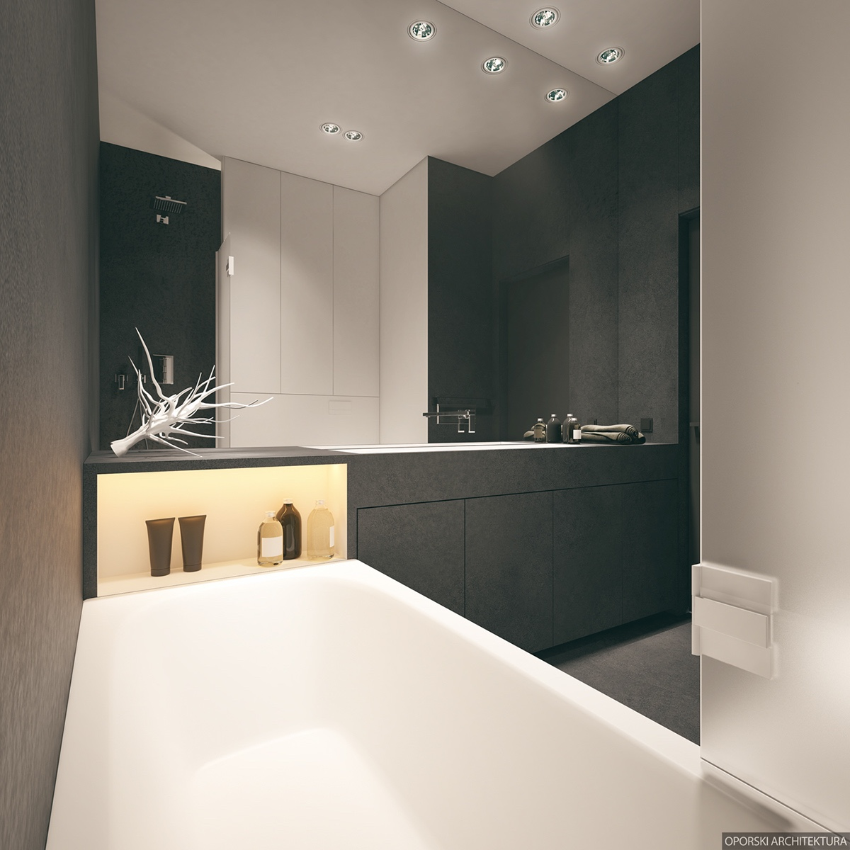 Charcoal Black And White Bathroom - 2 super simple homes with light wood panels and matte black accents