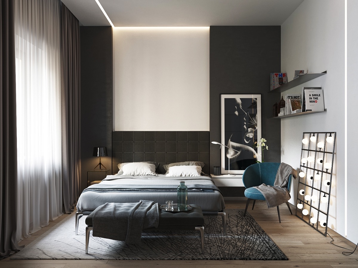 Black and white master bedroom shows the stretch of the for Black and white modern