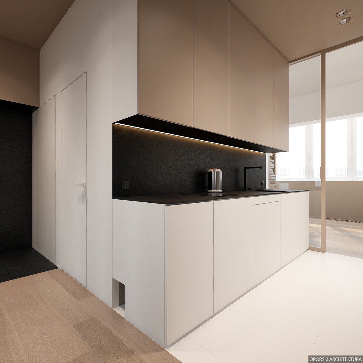 Compact Black And White Kitchen Style - 2 super simple homes with light wood panels and matte black accents