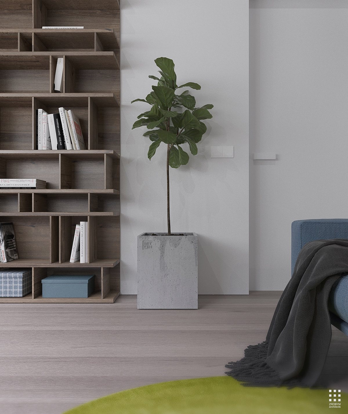 Concrete Tree Planter - An organic modern home with subtle industrial undertones