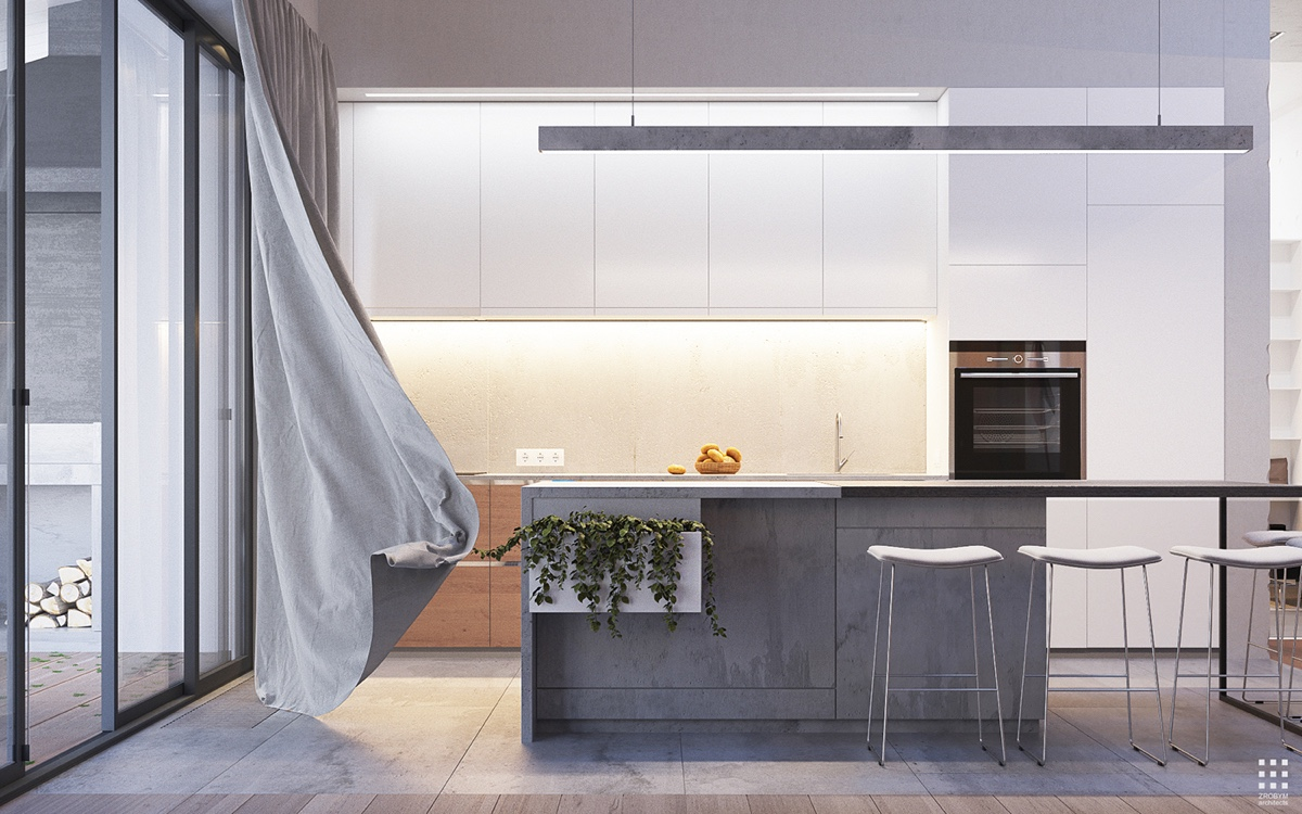 Concrete White And Wood Kitchen - An organic modern home with subtle industrial undertones