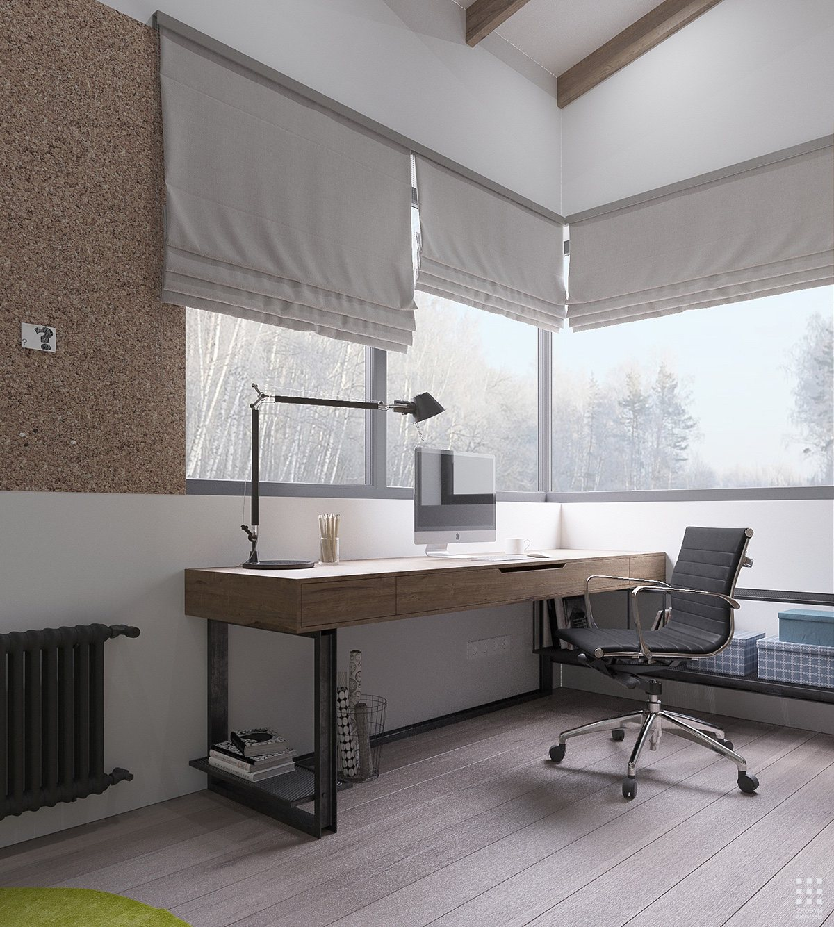 Corkboard Wall In Modern Home Office - An organic modern home with subtle industrial undertones