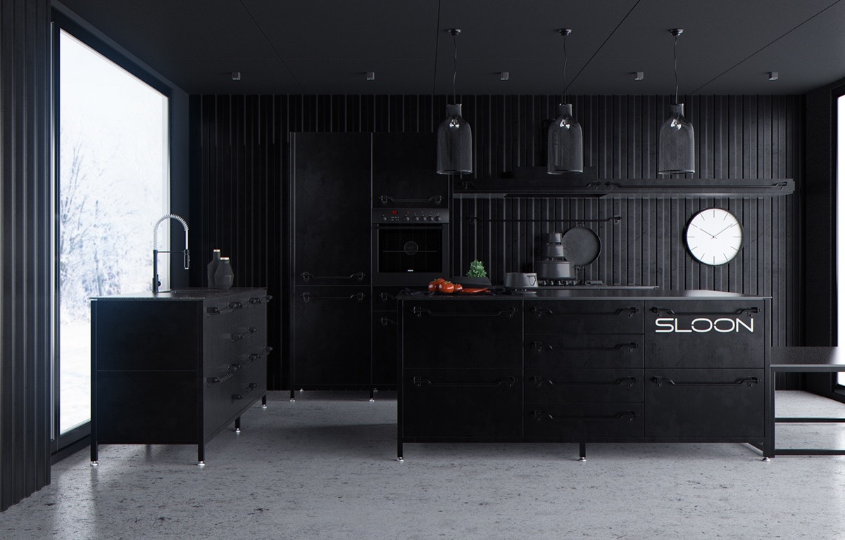 Corrugated Iron Kitchen All Black Central White Clock - 36 stunning black kitchens that tempt you to go dark for your next remodel