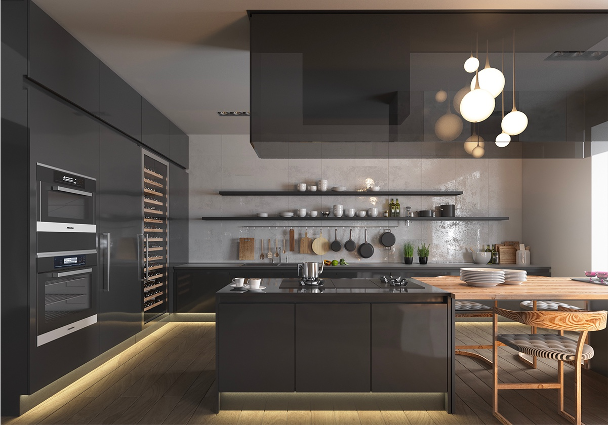 36 stunning black kitchens that tempt you to go dark for your next remodel - Black Kitchen Lights