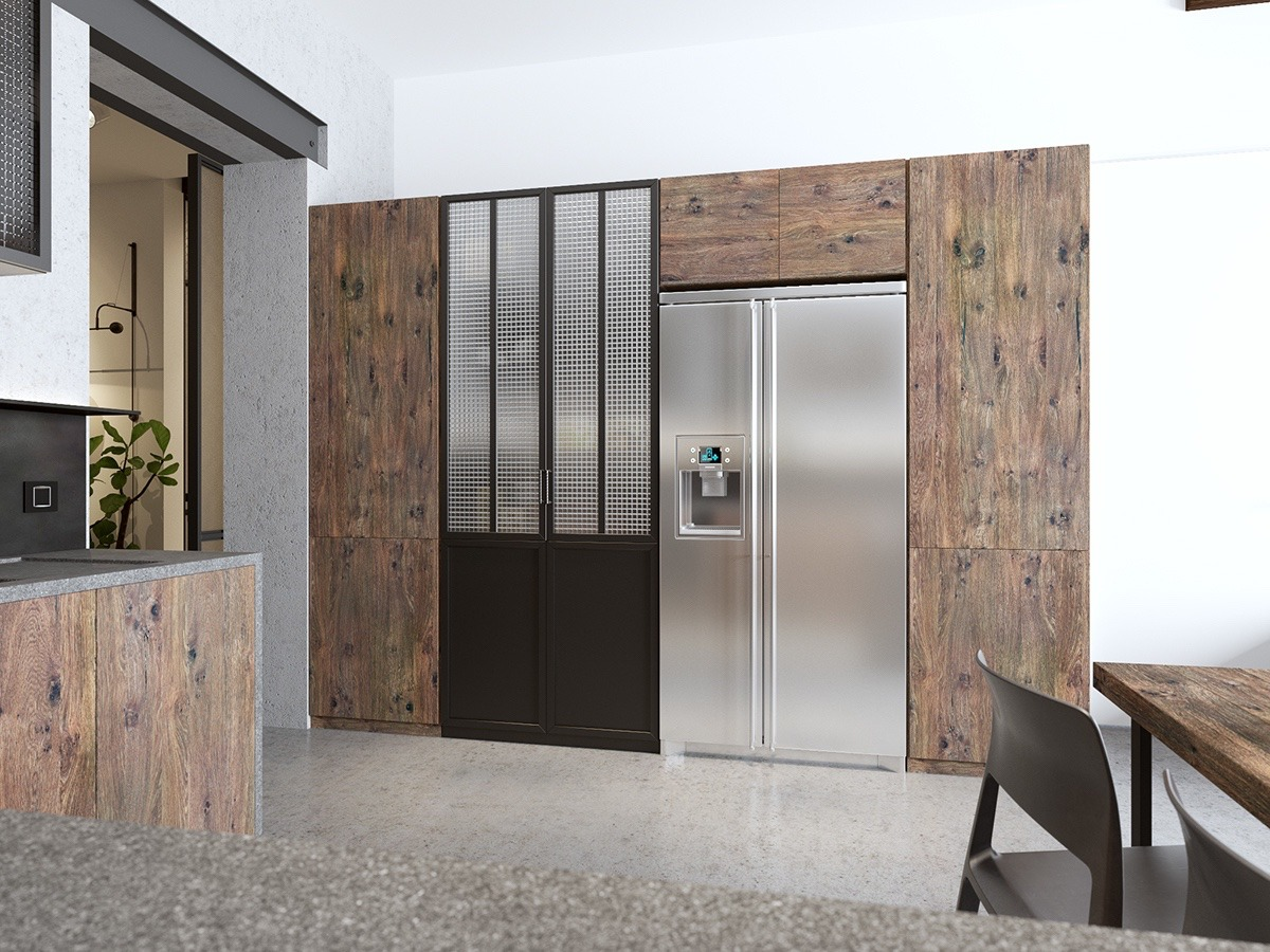 Dark Wood Kitchen Cabinetry With Steel Fridge - Handsome small apartments with open concept layouts