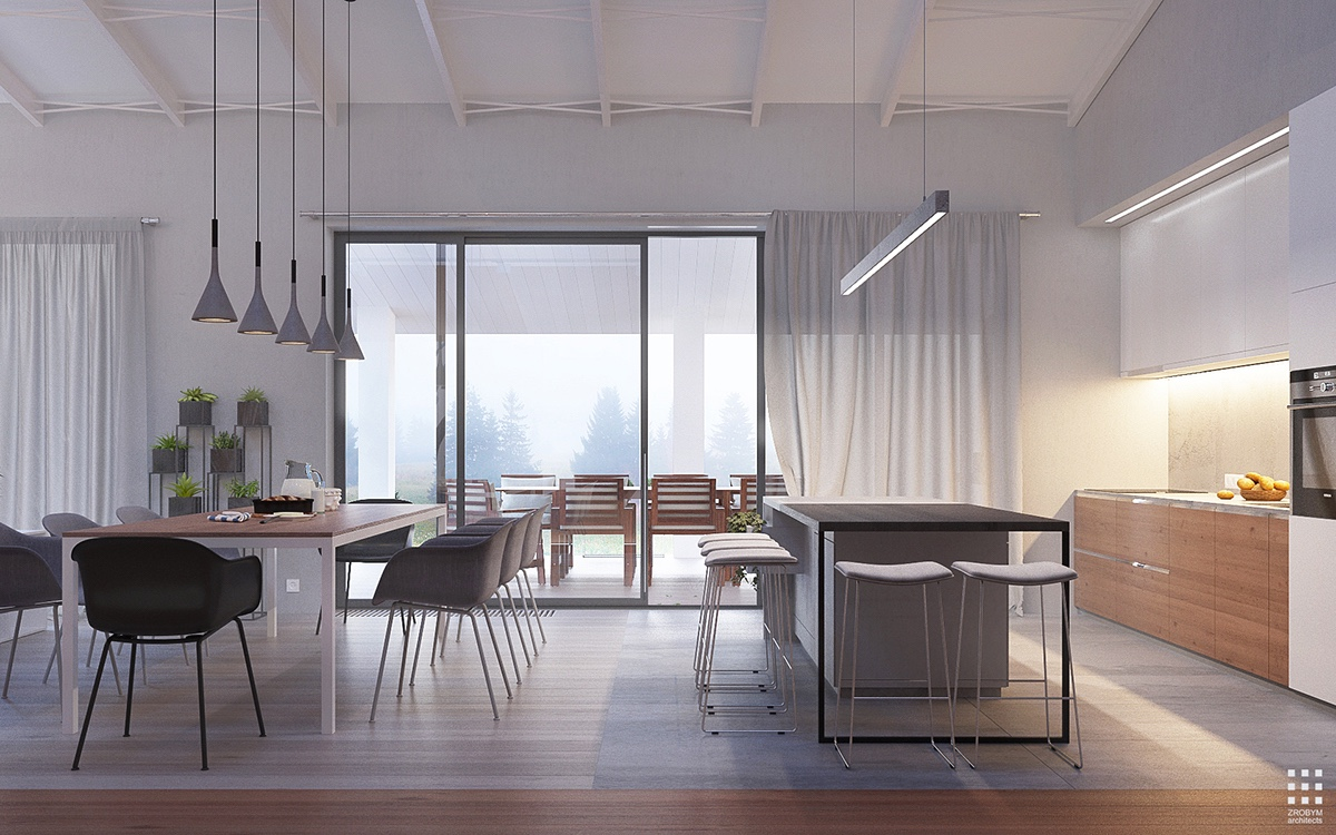 Different Floor Materials For Open Layout - An organic modern home with subtle industrial undertones