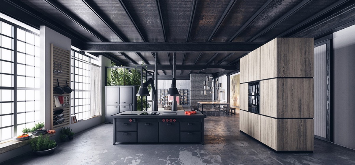 Distressed Floor Large Wooden Cabinet Railroad Track Ceilings Black Kitchen - 36 stunning black kitchens that tempt you to go dark for your next remodel