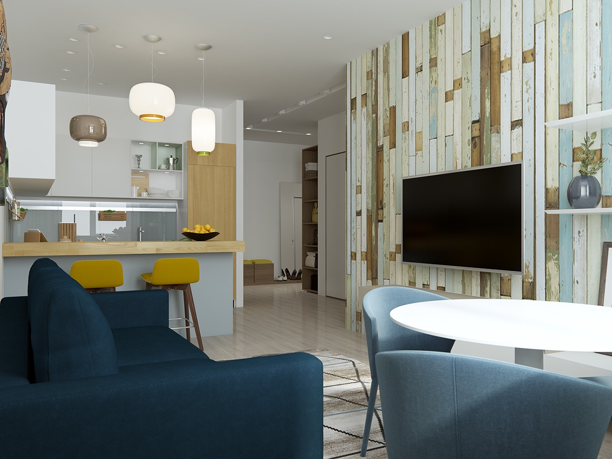 Distressed Wood Accent Wall - Handsome small apartments with open concept layouts