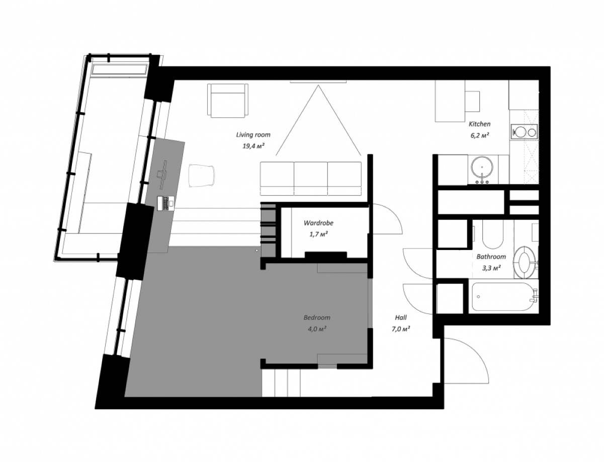Flat Floor Plan Apartment Under Sqm - Super small studio apartment under 50 square meters includes floor plan