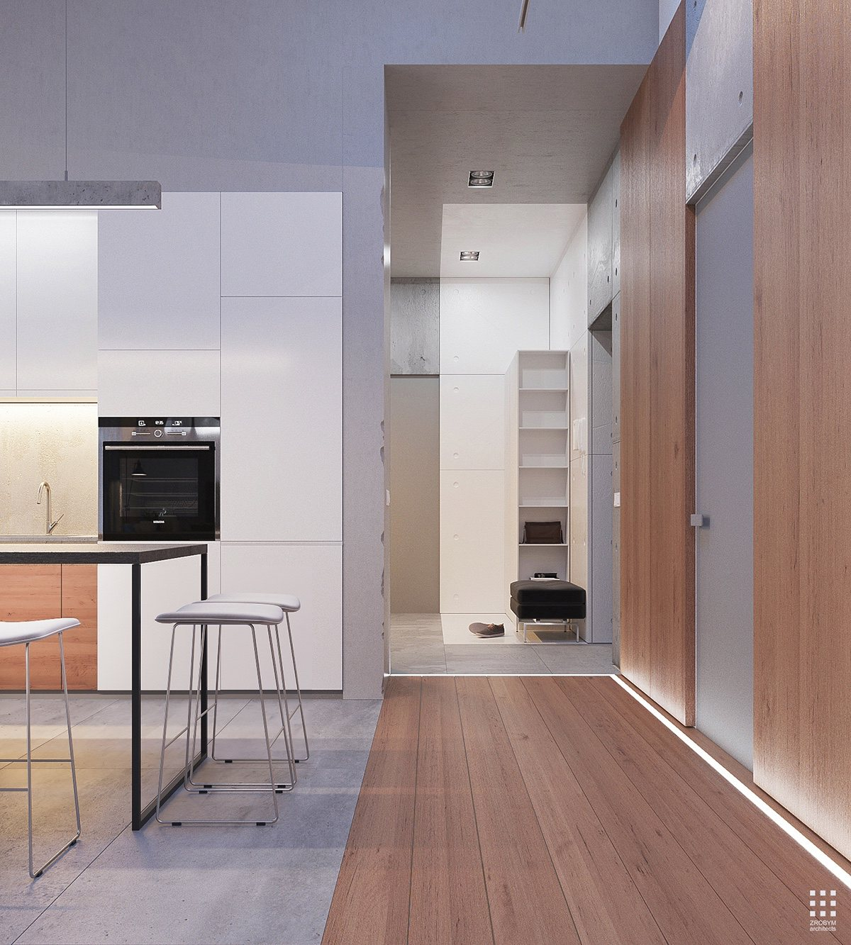 Floor Material Transition Ideas - An organic modern home with subtle industrial undertones