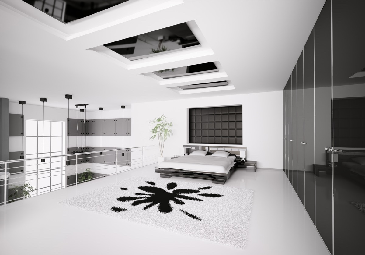Black and white master bedroom shows the stretch of the Bedrooms decorated in black and white