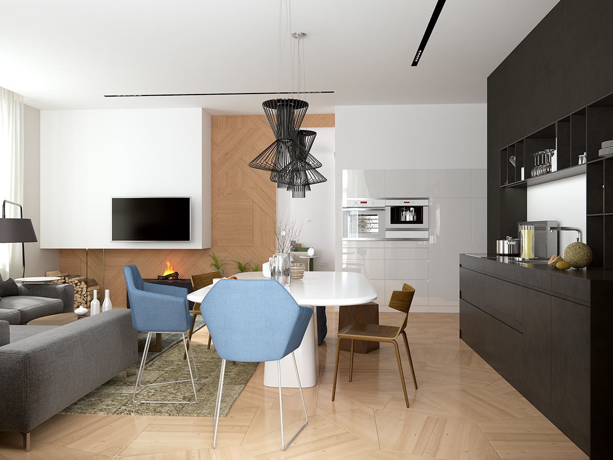 Geometric Floorboards And Wall Tiles - Handsome small apartments with open concept layouts