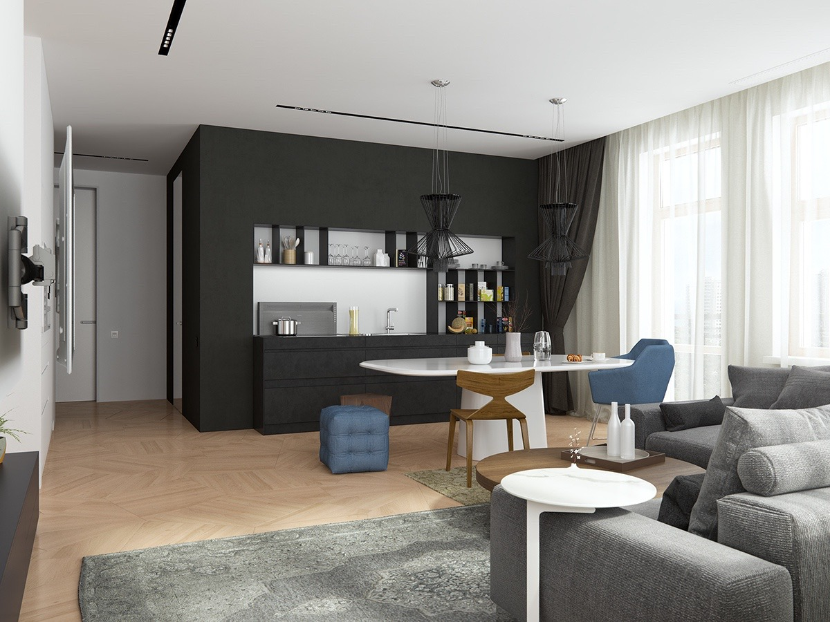 Geometric Small Apartment Style - Handsome small apartments with open concept layouts