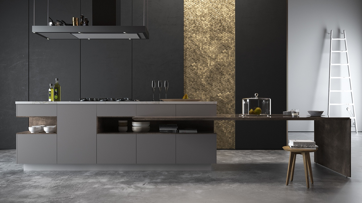 Gold Panel Kitchen Black Cabinetry Grey Benchtop - 36 stunning black kitchens that tempt you to go dark for your next remodel
