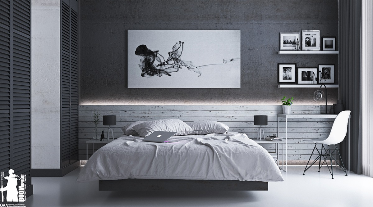Black and white and grey bedrooms - 3 Visualizer Yaroslav Kovalchuk