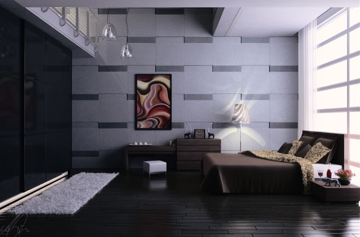 Grey And Black Bedroom Alternating Colours On Tiled Wall - 42 gorgeous grey bedrooms