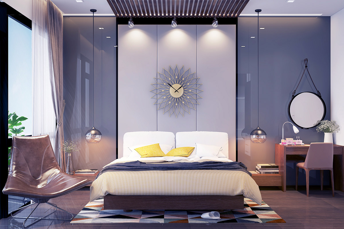 Bedroom design purple and grey - 19 Visualizer Rubik