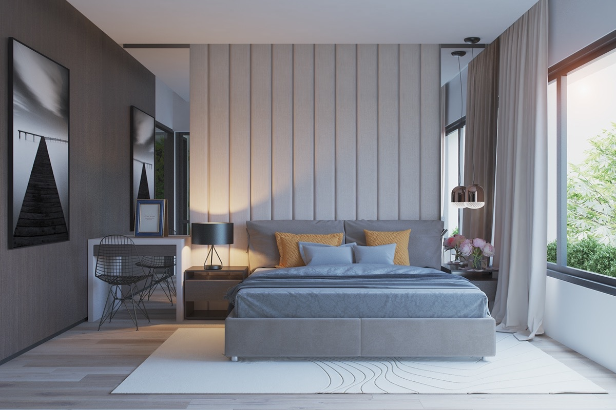 42 gorgeous grey bedrooms for Couleur maison interieur tendance