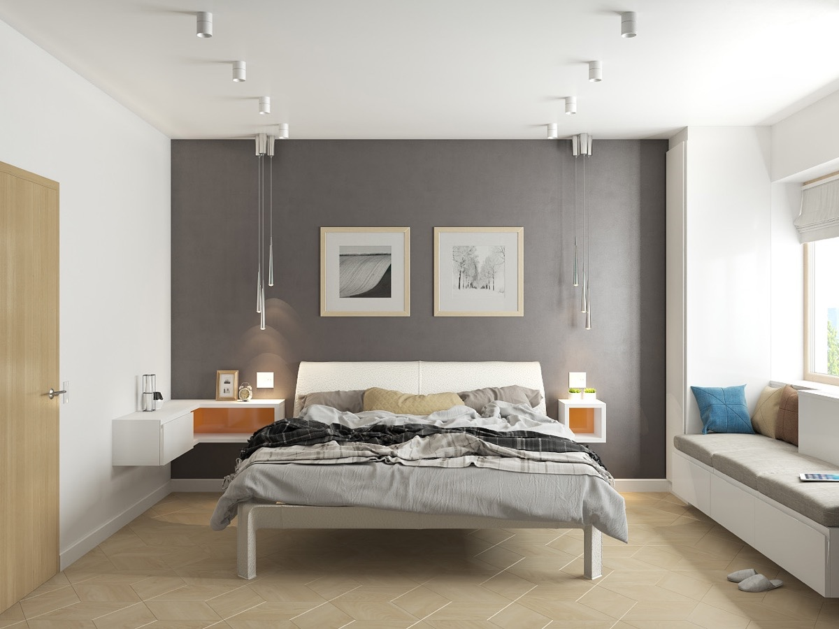 42 gorgeous grey bedrooms for Grey feature wallpaper bedroom