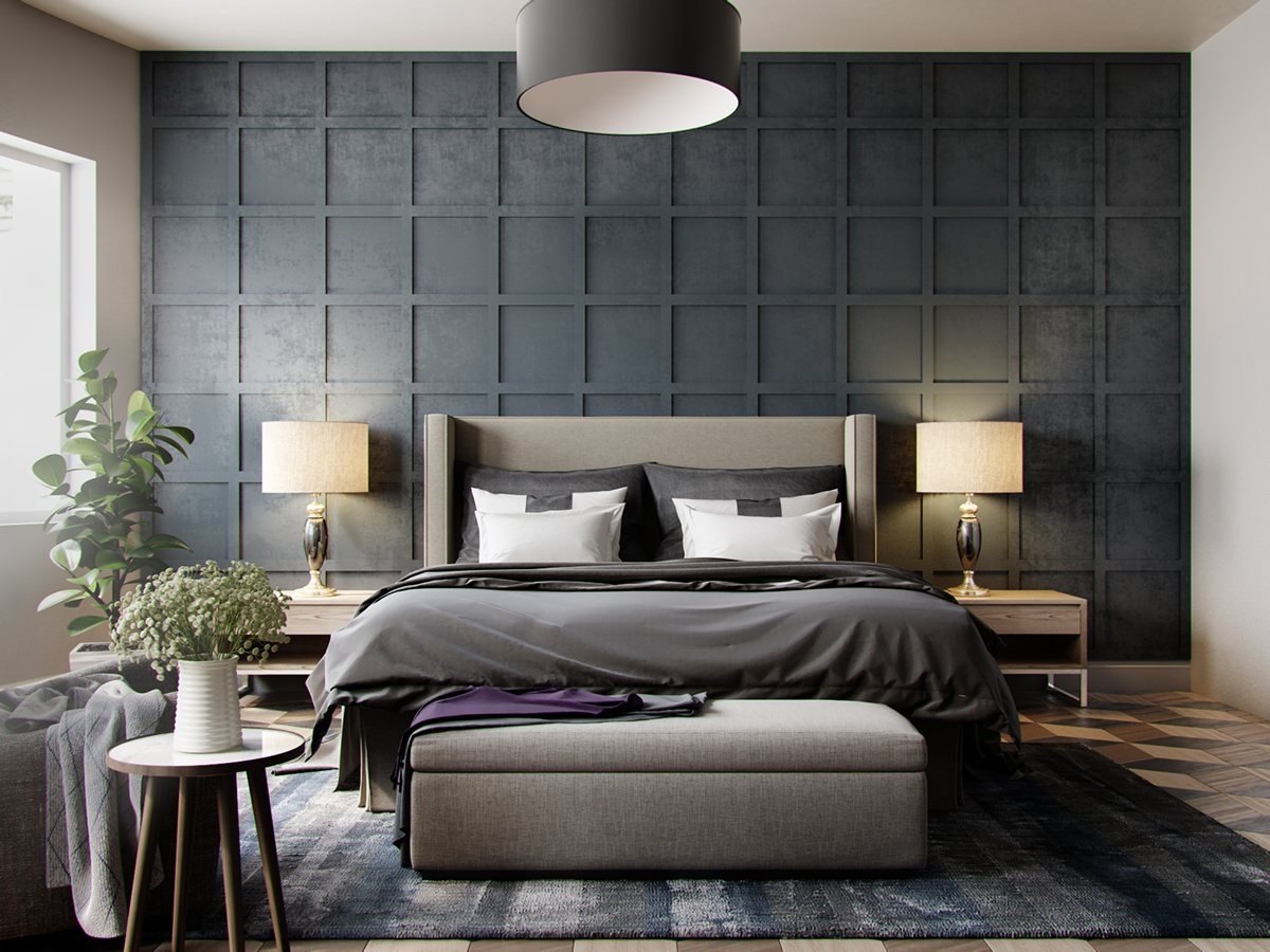 42 gorgeous grey bedrooms for Dark grey bedroom wallpaper