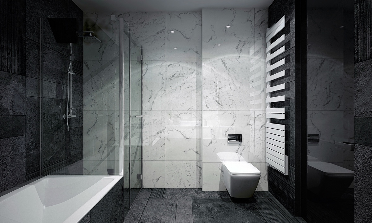 Greyscale Bathroom Wide Format Tiling Porcelain Dipped Bath - 4 monochrome minimalist spaces creating black and white magic