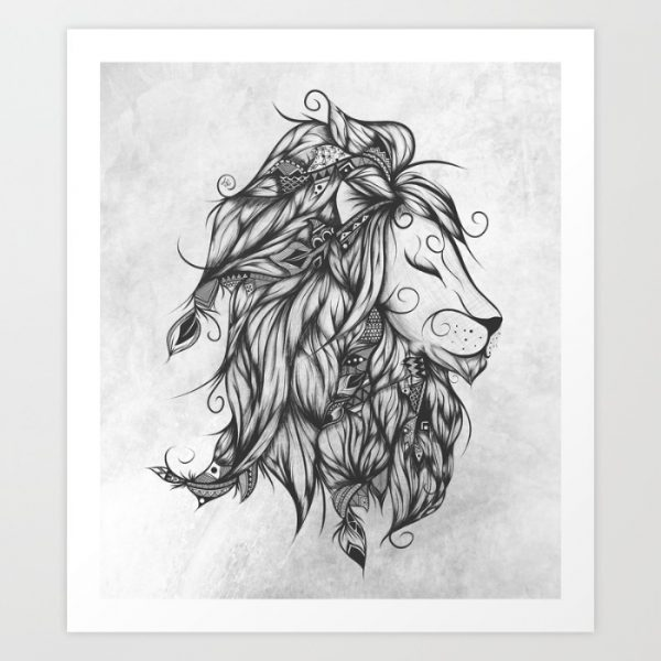 50 amazing art prints of lions for your walls for Aztec lion tattoo meaning