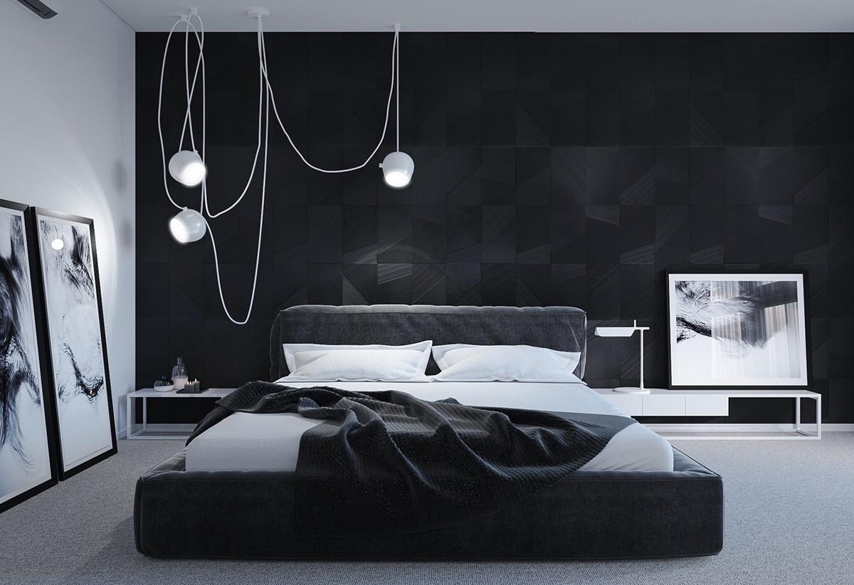 Black and white master bedroom shows the stretch of the for Hanging bedroom