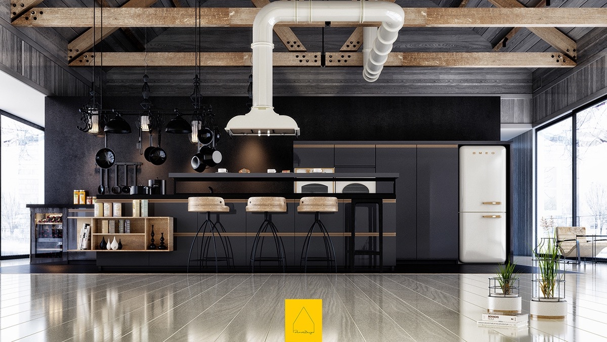 Industrial Black Kitchen White Feature Extractor Fan Polished Wooden Floors Black Matte Focus - 36 stunning black kitchens that tempt you to go dark for your next remodel