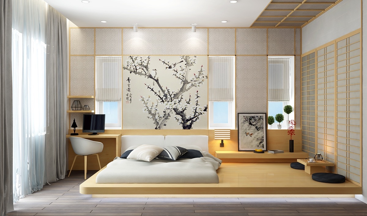 low height  floor bed designs that will make you sleepy  - here's another visualization of the same room this time demonstrating anupdated take on traditional asian home design low beds