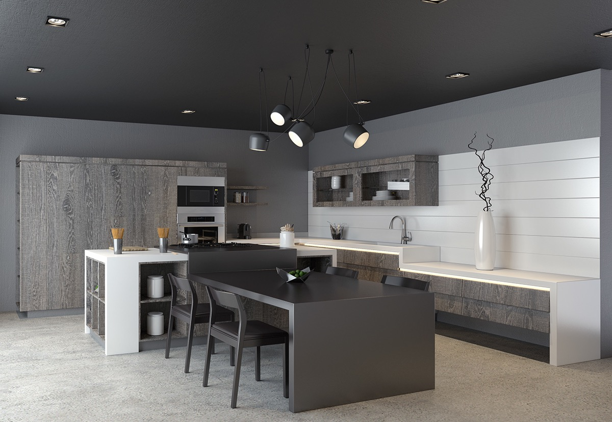 Modern Kitchen Designs Using Unconventional Geometry