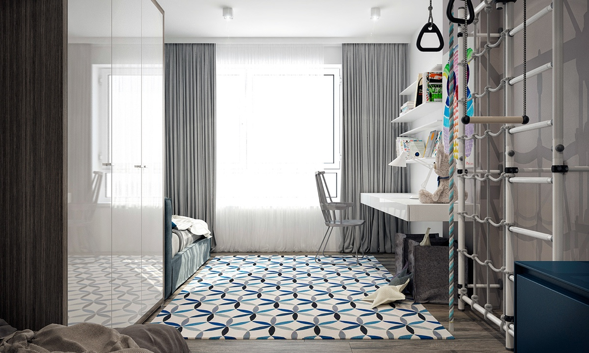 Light Bright Kids Bedroom Geometric Rug White Ladders - 4 monochrome minimalist spaces creating black and white magic
