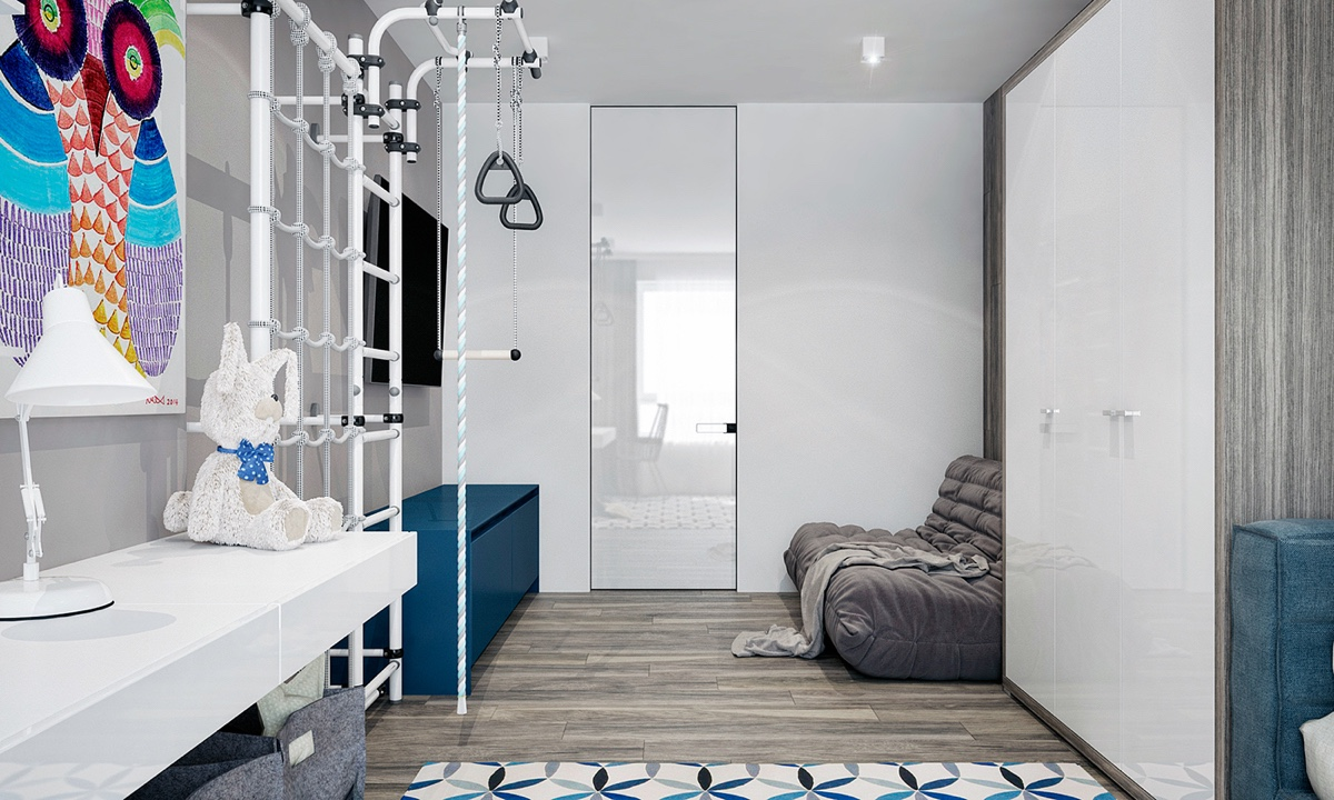 Light Kids Bedroom Light Wooden Floors Tall White Cabinets - 4 monochrome minimalist spaces creating black and white magic