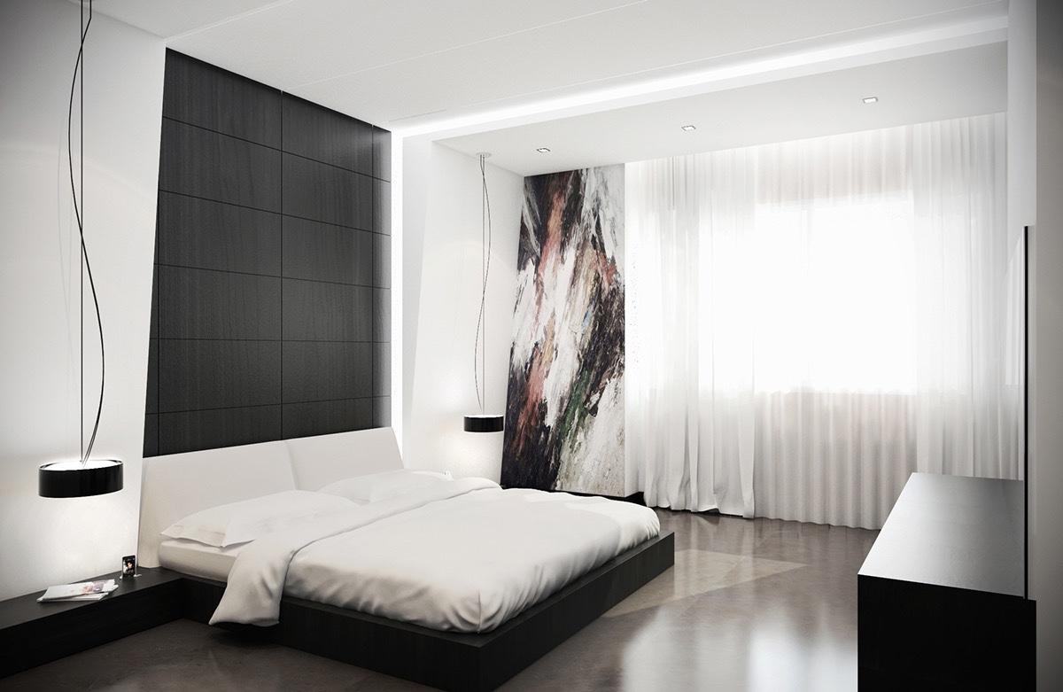 40 beautiful black white bedroom designs for White bed interior design