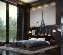 In bedrooms that feature large format artwork, a low bed stays out of the way. But this one still makes a subtle but tasteful impression with the luxurious layering of dark wood and plush fabric.