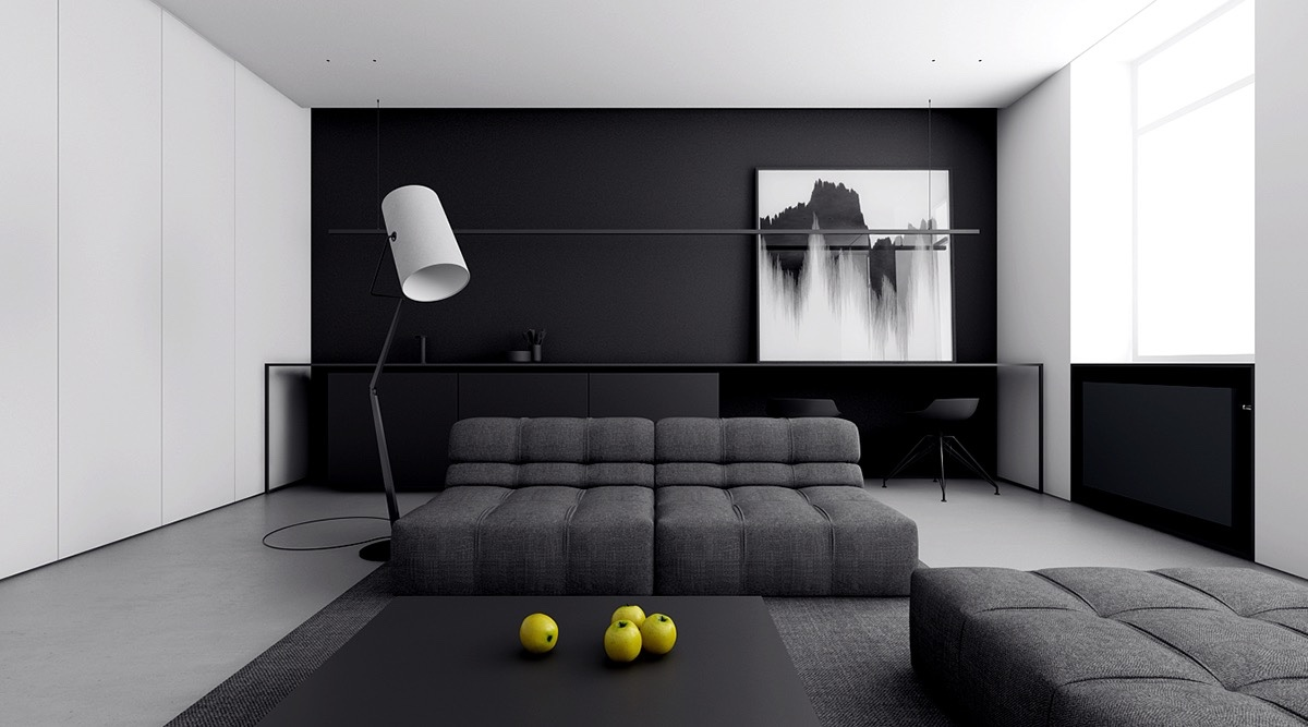 Minimalist Italian Living Room Quilted Futons Cameraman Light - 4 monochrome minimalist spaces creating black and white magic