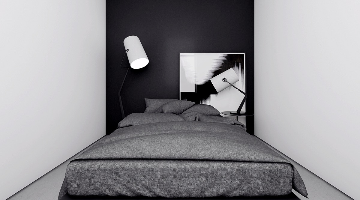 4 monochrome minimalist spaces creating black and white magic for Minimalist black and white bedroom