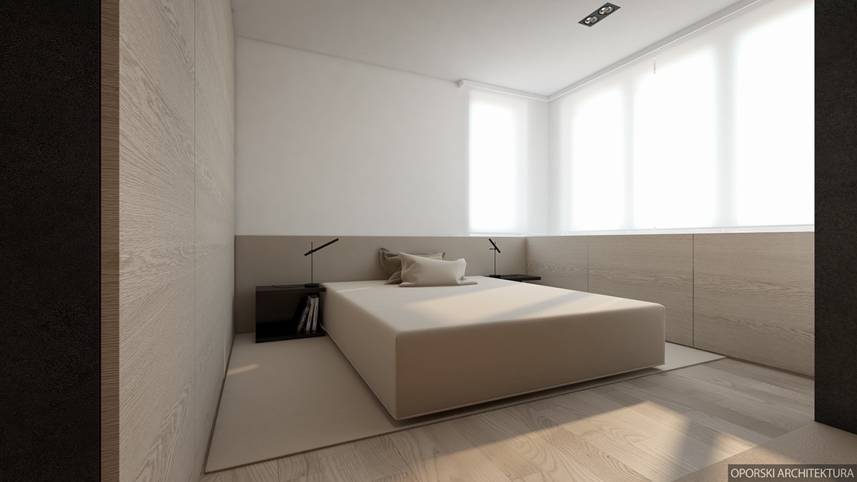 Minimalist Beige Bedroom - 2 super simple homes with light wood panels and matte black accents