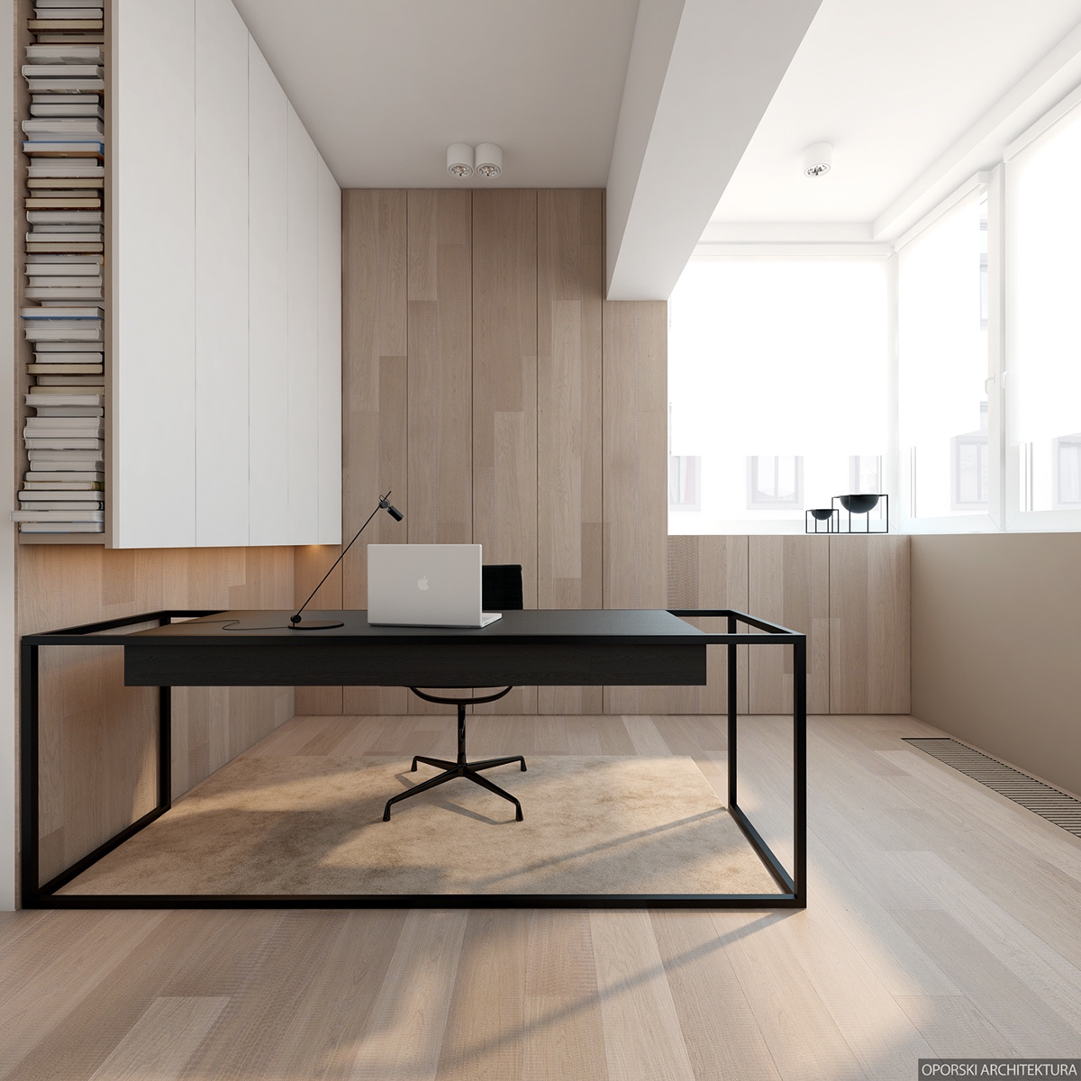 Minimalist Home Office Design - 2 super simple homes with light wood panels and matte black accents
