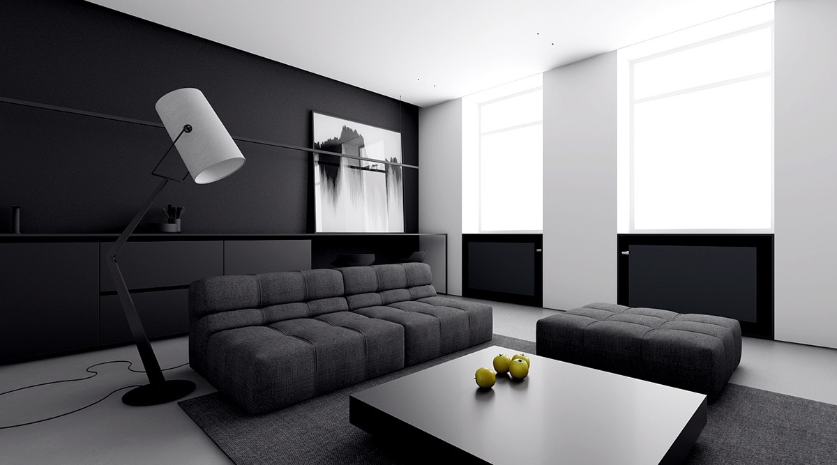 4 monochrome minimalist spaces creating black and white magic for Minimal design living room