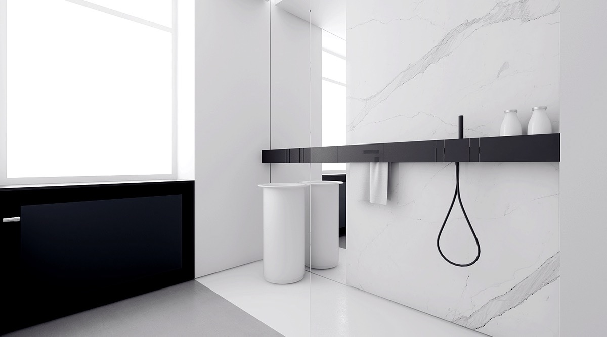 Monochromatic Bathroom Black Strip Benching Marbled Wall - 4 monochrome minimalist spaces creating black and white magic