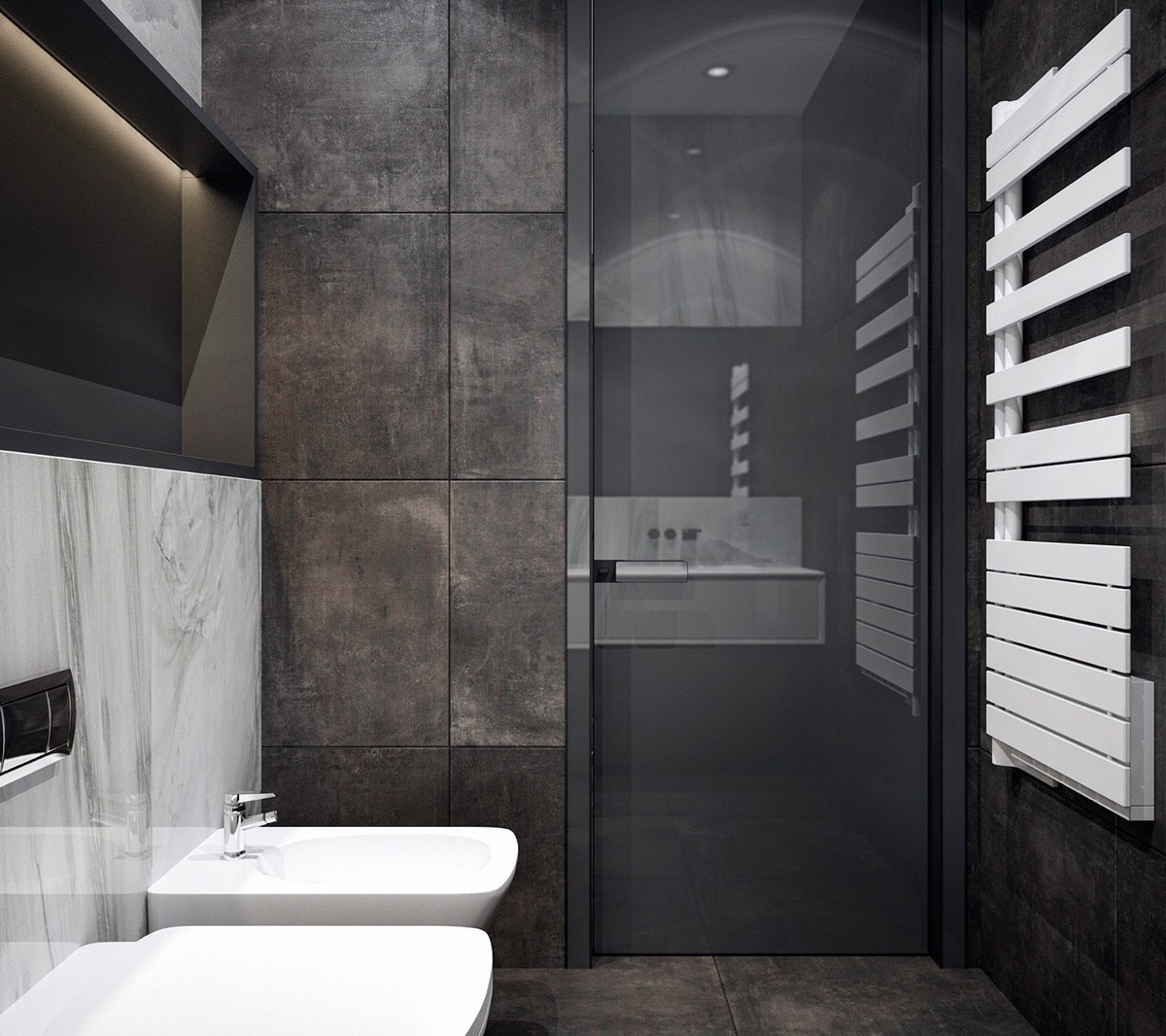 Monochromatic Bathroom Large Grey Tiles White Porcelain Fixtures - 4 monochrome minimalist spaces creating black and white magic