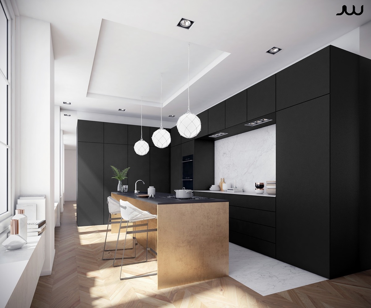 36 stunning black kitchens that tempt you to go dark for for Cuisine noir mat