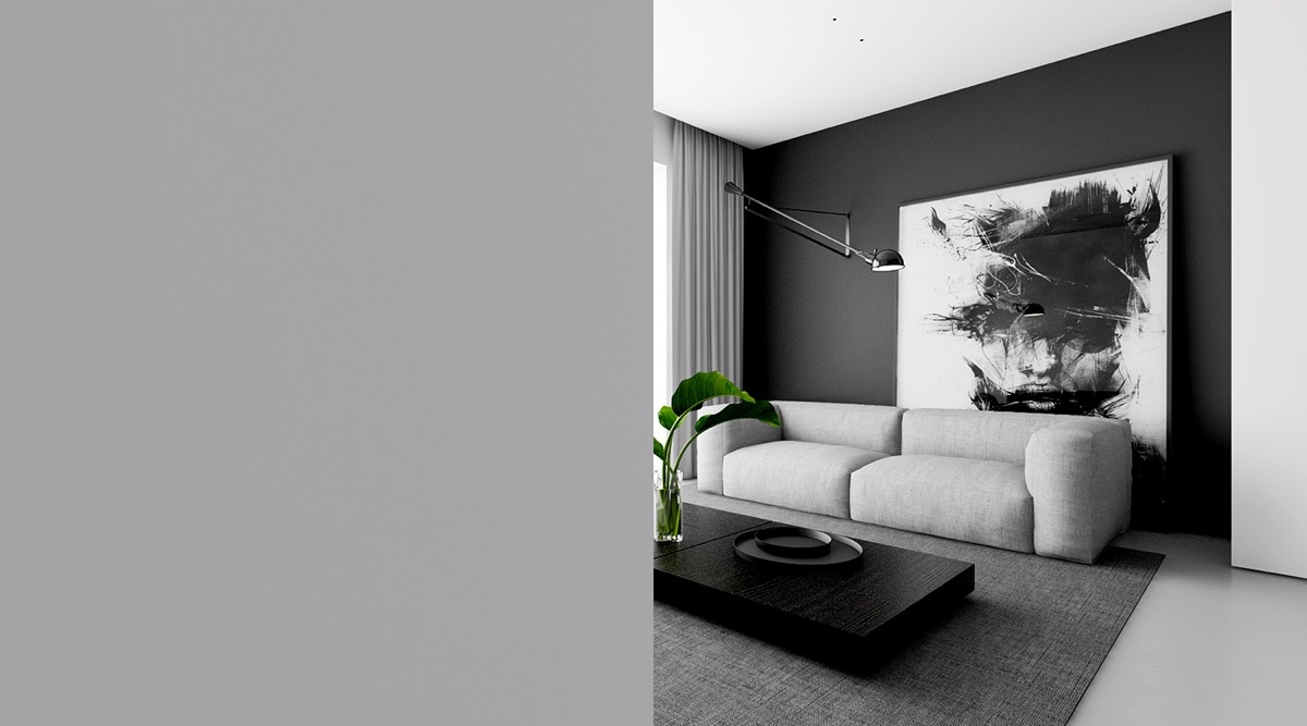 Monochromatic Living Room Abstract Wall Art Grey Painted Corner - 4 monochrome minimalist spaces creating black and white magic