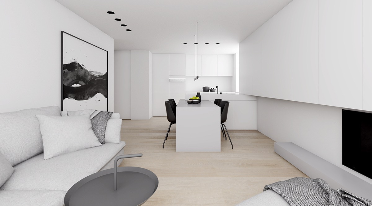 Monochromatic Living Room Abstract Wall Art White Walls - 4 monochrome minimalist spaces creating black and white magic